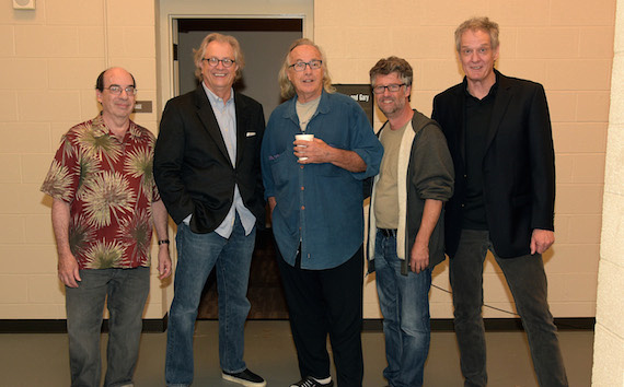 Pictured (L-R): Music journalist and author Barry Mazor, the Country Music Hall of Fame and Museum's Kyle Young, Ry Cooder, the Americana Music Association's Jed Hilly and Mark Moffatt backstage. Photo: Rick Diamond