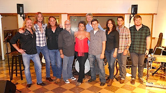 Pictured (L-R): Terry Lee Palmer (Guitar); Lee Francis (Bass); Howie Adams (Drums); producer Jeff Stevens; Hannah Dasher; Kos Weaver, Executive Vice President, BMG Chrysalis; Daniel Lee, Senior Creative Director, BMG Chrysalis; LeAnn Phelan, Co-head of Nashville Membership, ASCAP; Michael Martin, Co-head of Nashville Membership, ASCAP; Eddy Dunlap (Steel) About ASCAP