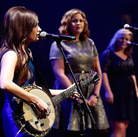 Kacey Musgraves, Hillary Scott, and Kelly Clarkson perform at the ACM Honors.